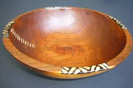 large olive wood circular salad bowl stitch detail wbs12