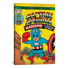 marvel comics wall art canvas gallery style wall print of marvel comics retro captain kid pop marvel comics wood wall art
