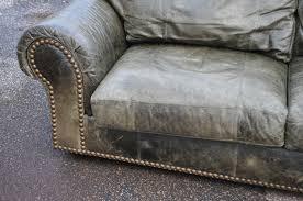 ferguson copeland ltd distressed green leather sofa cad 1 pic ca