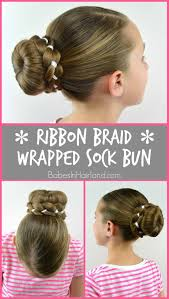 Sock Bun Hair Style ribbon braid wrapped sock bun babes in hairland 8574 by wearticles.com
