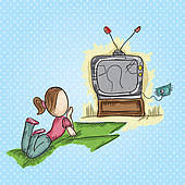 girl watching tv clipart. mother working in the office; family icons girl watching tv clipart