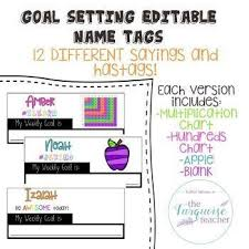 Editable Hundreds Chart Editable Goal Setting Student Desk Name Tags Bright And