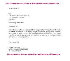 free resignation letter    resignation letter format  sample    free resignation letter format