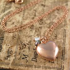 rose gold heart locket necklace