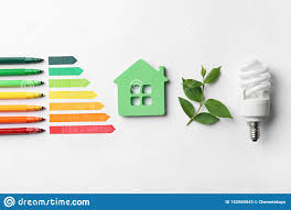 Fluorescent Light Chart Flat Lay Composition With Energy Efficiency Rating Chart