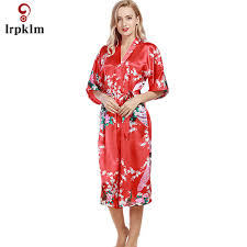 plus size robes women long robe 2017 brand new ladies faux silk floral summer