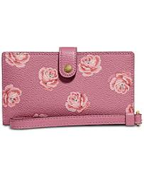 COACH Rose Print Phone Wristlet