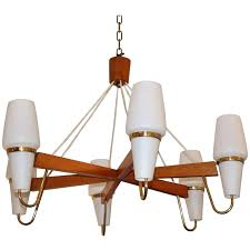 danish modern chandelier mid century modern danish chandelier in teak wood brass and white glass for