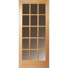 Masonite 32 in. x 80 in. 15 Lite Clear Unfinished Fir Wood Front ...