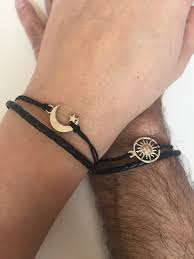 hot bracelets adjustable rope charm bracelet friendship cuff moon and sun bracelet leather braid gifts