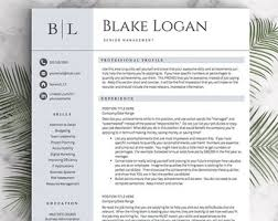 Professional Resume Template for Word & Pages (1, 2 and 3 Page Resumes  Included