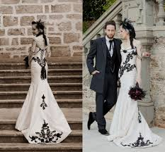 gothic wedding dresses black lace appliques with champagne inside