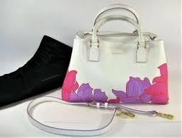 vera bradley emma paradise fl lilac white satchel leather purse ships free
