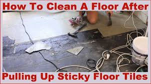 how to clean a sticky floor after pulling up old l and stick floor tiles