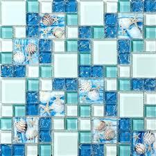 glass mosaic wall art for conch tiles beach style sea blue tile green diy glass mosaic