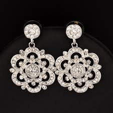 vintage black white crystal big hollow flower chandelier earrings for women lady