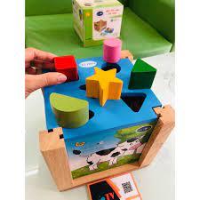 Đồ chơi hộp xếp hình thả khối bằng gỗ   Đồ chơi thả khối xếp hình   Trò chơi  xếp hình thả khối gỗ