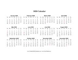 Image Of 2020 Calendar Printable 2020 Calendar One Page Horizontal Holidays In Red