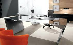 contemporary glass office. Contemporary Executive Desk Modern Glass Office And Black Mesh Back  Chair Also Orange .