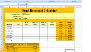 Get Excel Timesheet Calculator Template Xls Free Excel