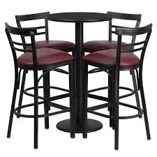 24 round black laminate table set with 4 ladder back metal bar stools burdy vinyl seat eventle com