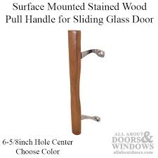 non handed stained wood pull handle cast brackets 6 5 8 holes patio glass sliding door choo