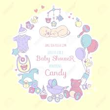 Baby Shower Invitation Cards Vector Illustration Cute Baby Shower Invitation Card For Boy