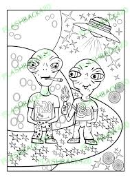 Small Picture Stoner Aliens Adult Coloring Page Gift for Stoner Best Buds