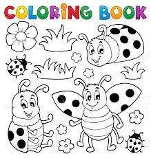 Coloriage Th Me Coccinelle Livre 1 Illustration Vectorielle Clip