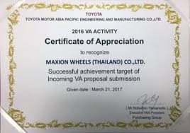 Saraburi Plant In Thailand Receives Toyota Thai Appreciation Award