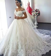 Luxury Designer Gowns Us 139 3 30 Off 2019 Off The Shoulder Wedding Dress Full Lace Luxury Ball Gown Wedding Dresses Mid East Princess Plus Size Bridal Gown In Wedding