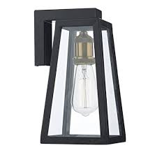 tapered matt black outdoor wall lantern with clear glass panels