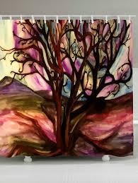 fancy waterproof oil painting tree of life shower curtain