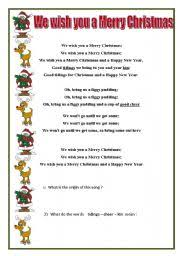 English teaching worksheets: We Wish you a Merry Christmas
