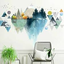 geometric forest animals mountain wall