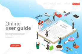 Isometric Flat Vector Landing Page Template Of User Manual Guide