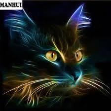 diy diamond painting cross stitch mosaic embroidery animal glowing black cat face full square diamond embroidery