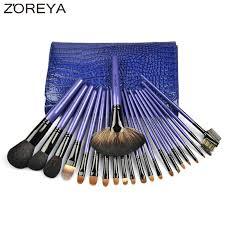 zoreya brand 22pcs sable hair professional makeup brush set high quality make up brushes fan powder natural hair brush kit tools in eye shadow applicator