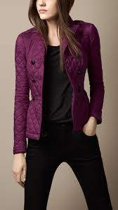 Burberry Quilted Peplum Jacket in Purple | Lyst & Gallery. Women's Quilted Jackets Adamdwight.com