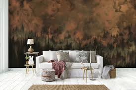 forest wall mural australia black and