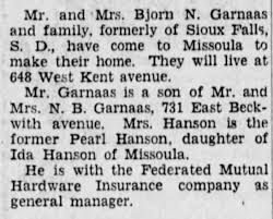 Bjorn N Garnaas and family wife Pearl Hanson to Missoula to make home -  Newspapers.com