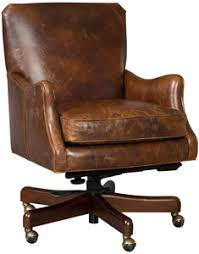leather office. distressed leather in sienna brown office