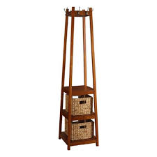 coat rack stand wood with three shelves and two baskets umbrella brown home kitchen living room