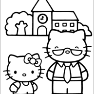 Kleurplaat Hello Kitty Dagje Weg In Dierentuin Kleurplaatjecom