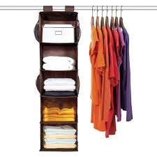 maidmax 5 tiers cloth hanging shelf for closet organizer with 2 widen straps foldable brown 42 inches high