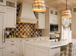 Bright White Themed Contemporary Kitchen with Glorious Backsplash Tile Ideas  and Chic Pendant Lamps