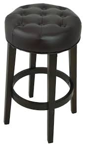 stools bar stools tufted backless counter stool in brown leather r 565t artefac