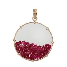 genuine gemstone shaker pendant baguette ruby 18k rose gold diamond pave jewelry suppliers eerra com