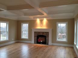 coffered ceiling and custom wood mantle stone fireplace gas fireplace insert