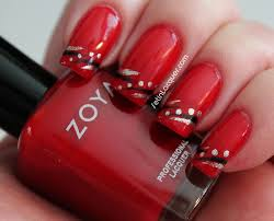 Nail art with dots and lines using Zoya - Set in Lacquer